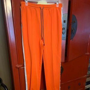 hunter orange track pants